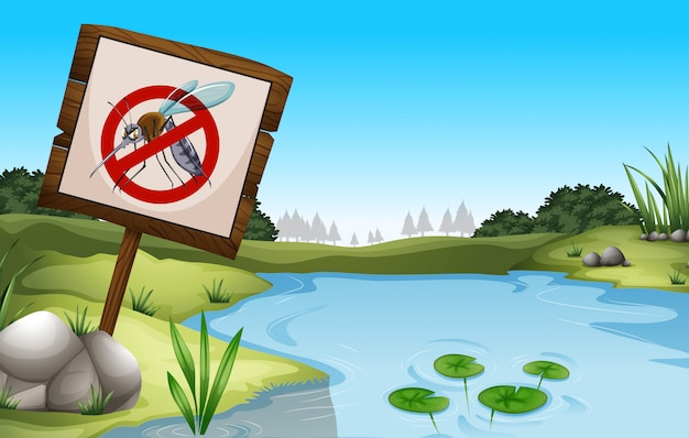 Scene background with pond and sign no mosquitoes