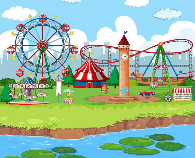 Scene background  with rides at the carnival