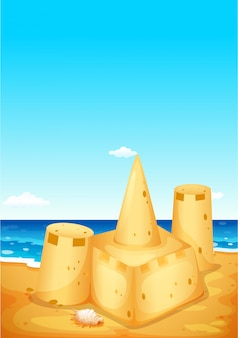 Scene background with sandcastle on the beach