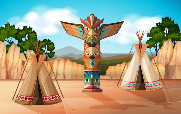 Scene background with teepee and totem pole