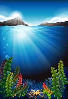 Scene background with underwater and mountains