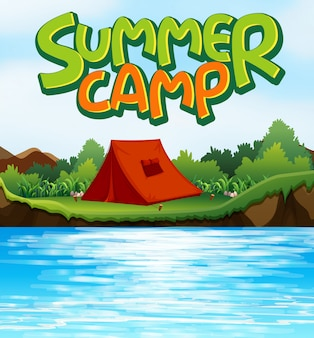 Scene background  for word summer camp with tent by the river