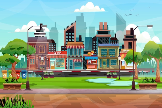 Scene of beautiful cityscape with hight building, shop and street with park