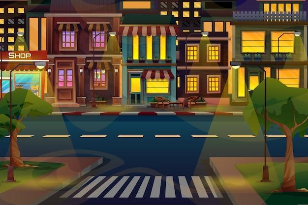 Scena di un bellissimo paesaggio urbano con edificio alto, negozio e strada con parco