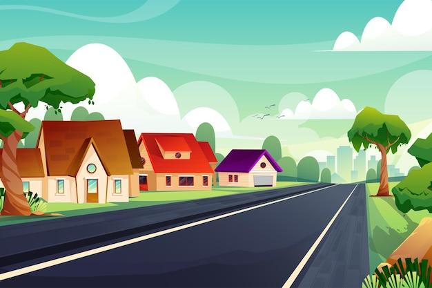 Сцена красивый пейзаж природы с домами и дорогой с зелеными деревьями и голубым небом.