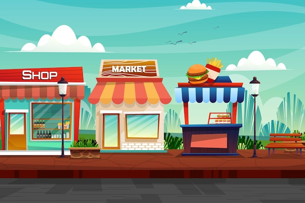 Scene of beverage shop, market, and hamburgers and french fries shop on street at nature park in city