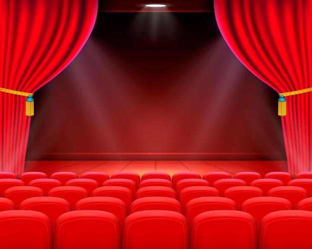 Сцена кино фоновое искусство, спектакль на сцене. векторная иллюстрация