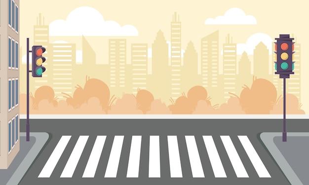 Scene of crosswalk and traffic lights