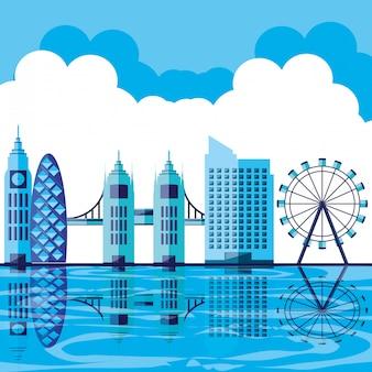 Scene day with cityscape icon