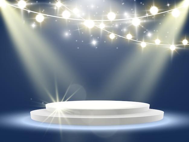 Сцена для церемонии награждения. пьедестал. прожектор. . подиум в свете звезд