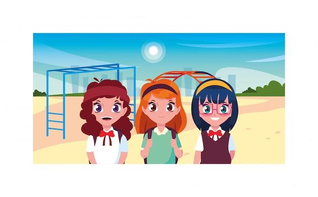 Scene of girls smiling in park, back to school