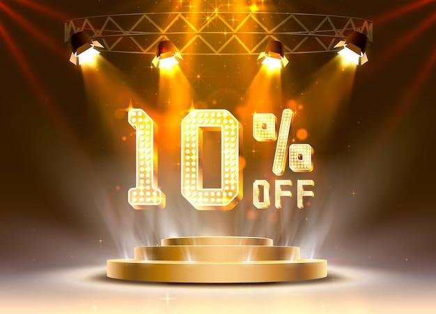 Сцена золотой 10 распродажа текстового баннера. ночной знак. векторная иллюстрация