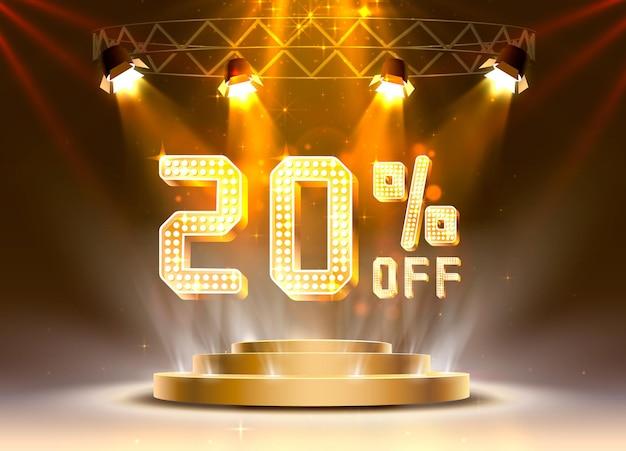 Сцена золотой 20 распродажа от текстового баннера. ночной знак. векторная иллюстрация