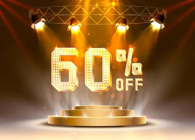Сцена золотой 60 распродажа от текстового баннера. ночной знак. векторная иллюстрация