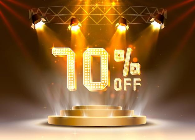 Сцена золотой 70 распродажа текстового баннера. ночной знак. векторная иллюстрация