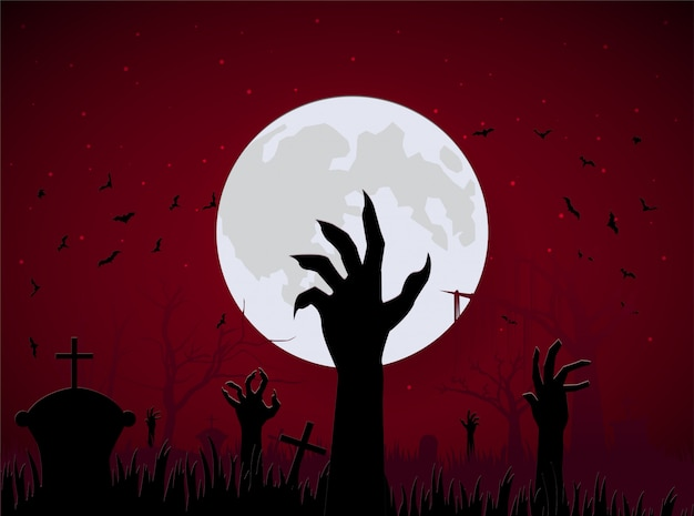 Scene halloween hand zombie from ground with big moon and bat