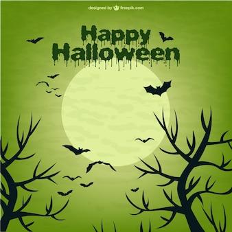 Scena di halloween con la luna e pipistrelli