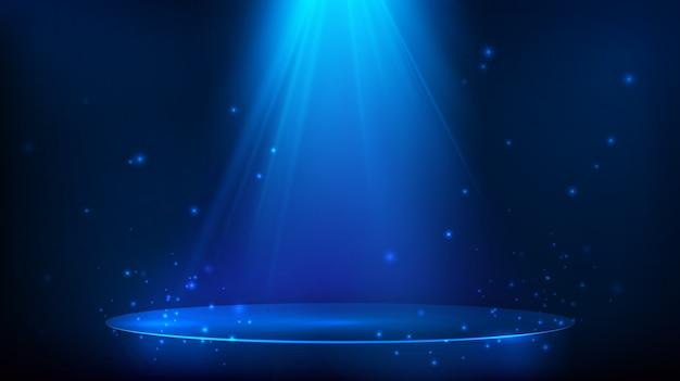 Сцена освещена синим светом