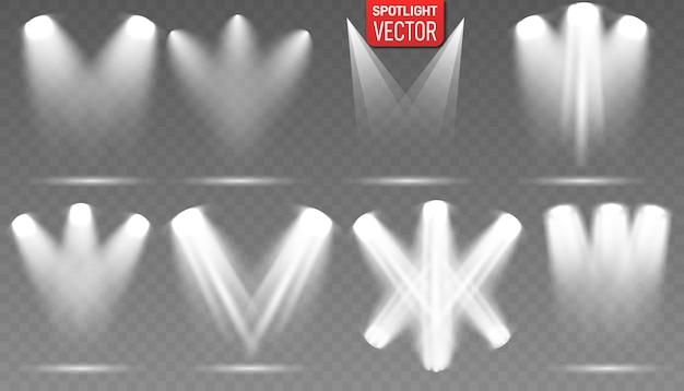Scene illumination collection. spot lighting of the stage.  concert spotlight with beam, illuminated spotlights