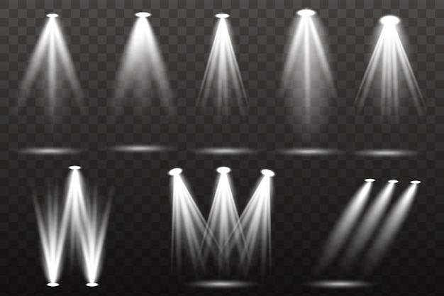 Коллекция освещения сцены, прозрачные эффекты. яркое освещение с точечными светильниками.