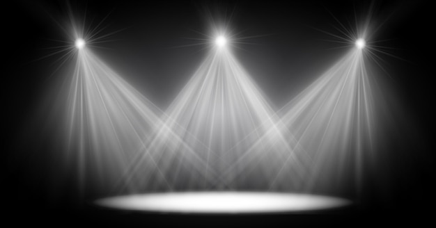 Scene illumination light, transparent flash light effect, sunlight special lens. bright flashes and lighting with spotlights. spot lighting of the stage.