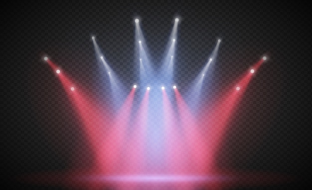 Scene illumination light, transparent flash light effect, sunlight special lens. bright gold flashes and lighting with spotlights. spot lighting of the stage.