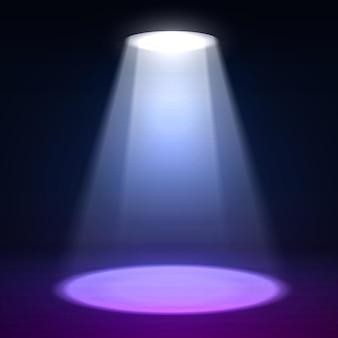 シーンイルミネーション。暗いグランジの壁の背景に効果を照らします。スポットライトとグロー効果を備えた明るい照明