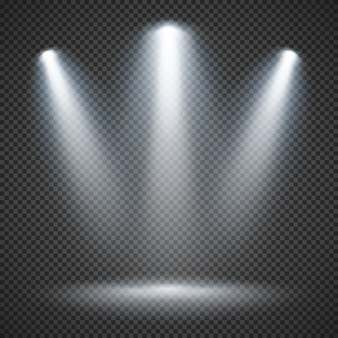 Scene illumination with bright lighting of spotlights