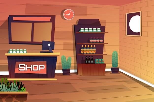 Сцена внутри магазина с кассовым прилавком и продуктами на полке, мультяшном стиле