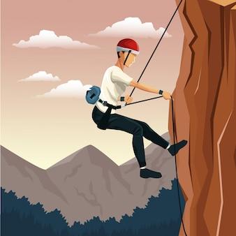 Scene landscape man mountain descent with harness rock climbing