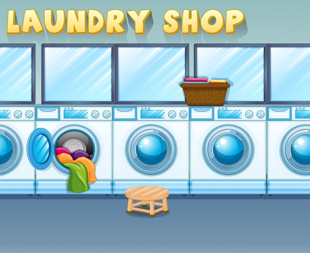 Scene in laundry shop