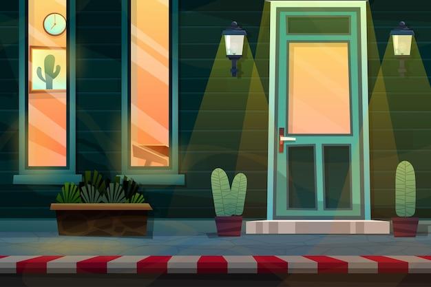 장면은 유리창을 통해 보고 집 내부를 보았다. 평면 스타일의 벡터 일러스트 레이 션