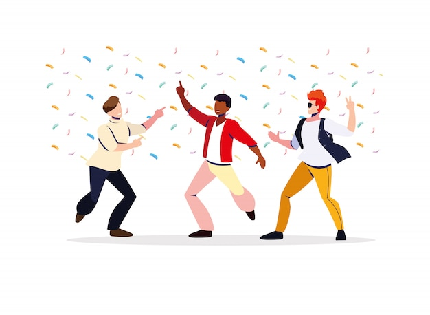 Scene of men in dance pose, party, dance club