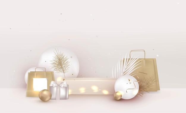 Макет сцены бежевый подиум с подарочной упаковкой белые шары