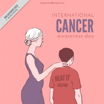 Scene of a mother with her son world cancer day background
