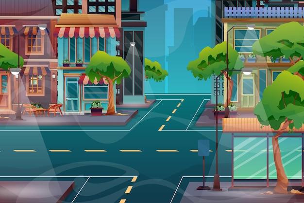 고층 건물, 상점, 공원이 있는 거리가 있는 아름다운 도시 풍경