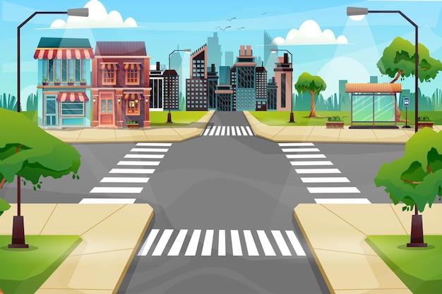Сцена красивого городского пейзажа с высоким зданием, магазином и улицей с парком