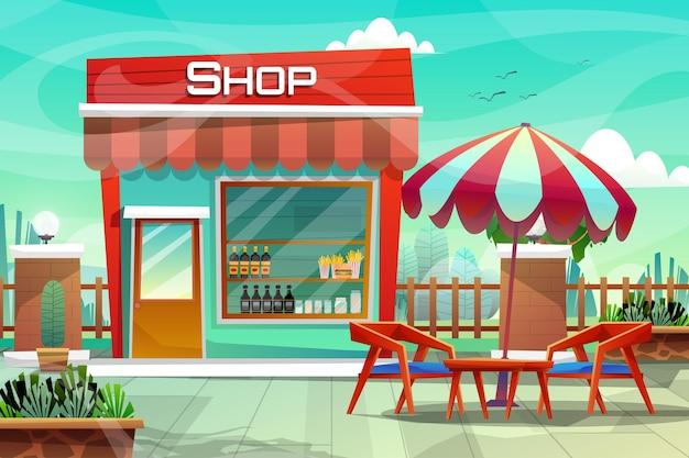 자연 공원의 푸른 잔디 근처에 커피 테이블과 우산이 있는 음료 가게 또는 쇼룸 의자 장면