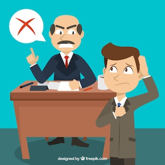 Scene of businessman with his boss