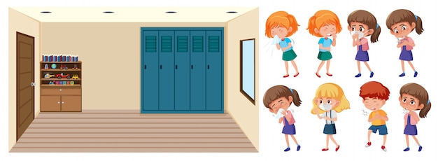 クリーンルームと病気の子供たちのシーン