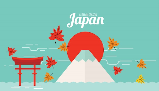 秋季の富士山と鳥門の風景。