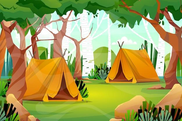 휴일에 캠핑 공원에서 자연과 텐트가 있는 풍경의 장면
