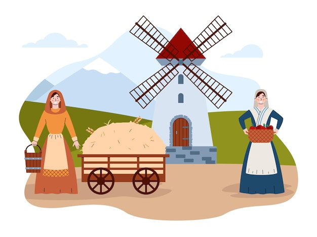 農民の女性と中世の村の生活のシーンフラットベクトルイラスト