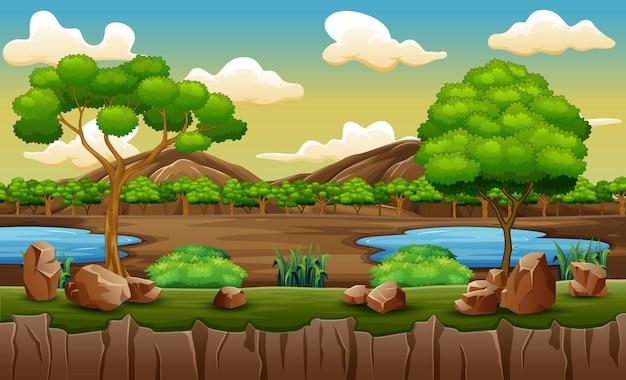 丘の上の池と木がある公園のシーン
