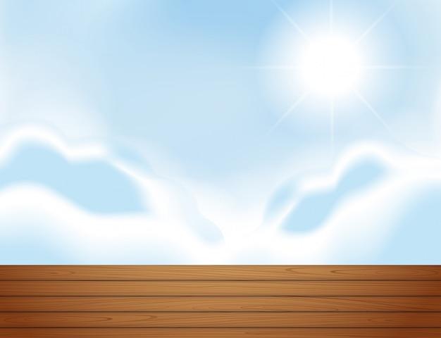 屋上とブルースカイのシーン