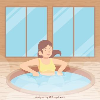 스파에서 목욕하는 여자의 장면