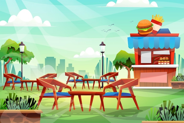 자연 공원에서 나무 의자와 테이블의 장면