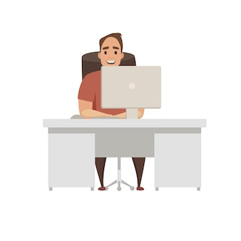 Scene at office. businessman boss character  illustration in flat cartoon style. working male. business start up. modern office. coding, software development. programmer working with laptop.