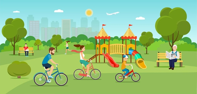 Scene in the park with people vector flat illustration