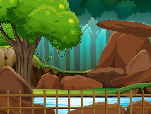 Scena del parco con recinzione in legno